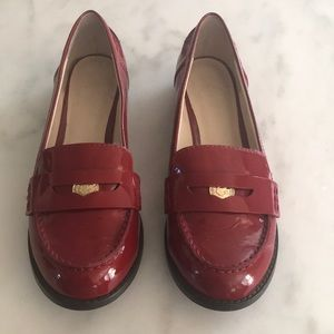 C Wonder Red Patent Leather Penny Loafers. Size 7